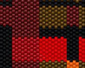 Red plaid brick peyote cuff bracelet pattern