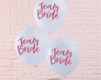 Set of 5 balloons - Team bride - white pink