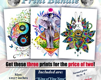Buy two prints get three -Ying and yang- bundle