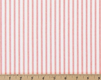 Coral Stripe Fabric by the BOLT Premier Prints classic on white Home Decor Upholstery curtains drapes runners pillows 30 yards!