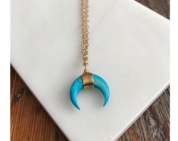 Bkue crescent moon necklace / Blue Moon / dainty necklace /