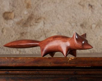 Fox Sculpture Hand Carved From Bubinga Wood by Perry Lancaster, Original Carving Fox Design Figurine