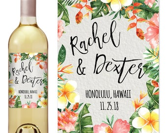 Beach Wedding Wine Label - Custom Wine Label - Personalized Wine Label - Destination Wedding Wine Bottle Label - Tropical Wedding