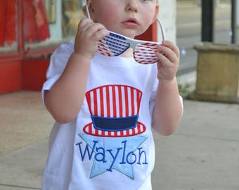 Boys 4th of July Shirt - Red White and Blue Shirt - Uncle Sam Shirt - Fourth of July Tee - 4th ofJuly Baby Outfit - Embroidered Shirt