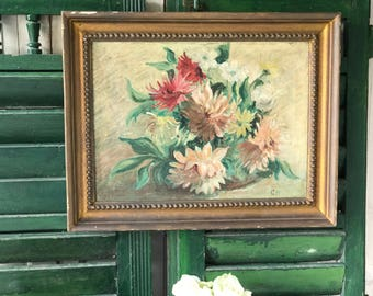 A truly stunning original framed oil on canvas vintage floral painting Dahlias