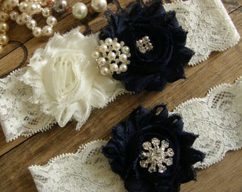 Something Blue / Wedding Garters / Garter / Ivory / Navy Blue / Bridal Garter / Toss Garter / Vintage Inspired / Garter Set