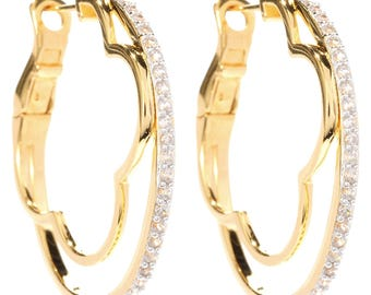 """Sterling Silver 1.23ctw White Zircon Round Hoop Earrings 1.25""""L"""