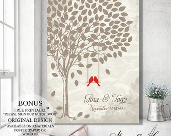 Guest Book Sign Wedding Tree Wedding Signs, Wedding Gift Bridal Shower Gift Guest Book Tree Rustic Wedding Canvas Guestbook Poster Decor