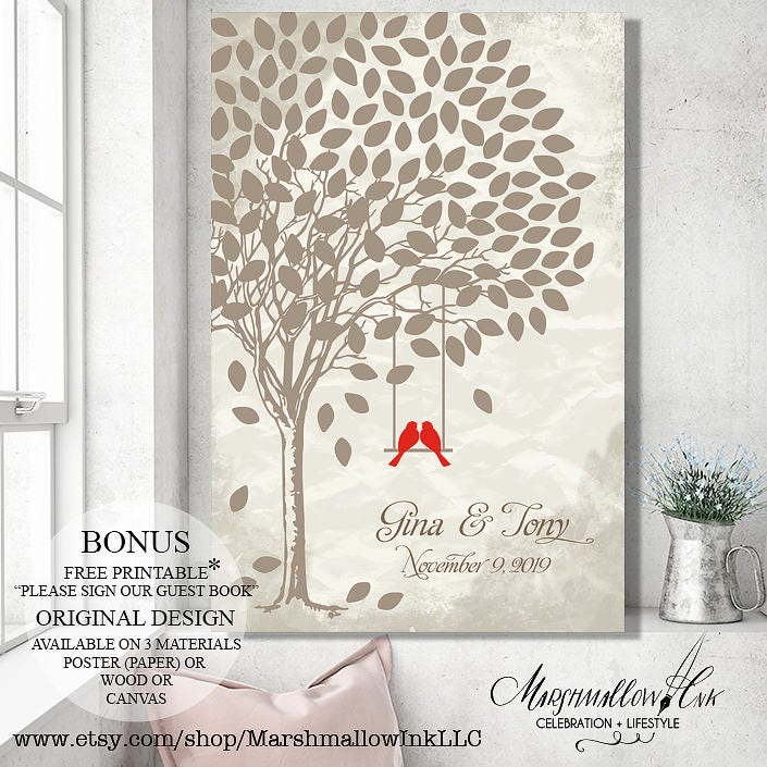 Guest Book Wedding Tree Guest Book Tree, Wedding Gift Bridal Shower Gift, Rustic Wedding Decor Wedding Canvas Wedding Signs Guestbook Poster
