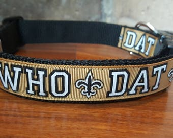 Who Dat New Orleans Saints Fleur de Lis  Dog Collar  Available in sizes L,  M, S, and Mini