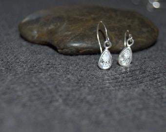 cubic zirconia earrings, CZ earrings sterling silver, tiny teardrop earrings, tiny clear crystal earrings, sterling silver dainty earrings