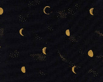 Pre-Sale- Moon Phase in Black (metallic) -Santa Fe -Sarah Watts for Cotton + Steel