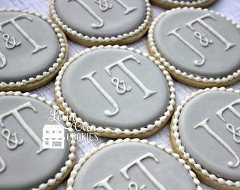 Elegant Monogram Decorated Sugar Cookies - 1 Dozen