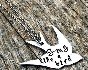 Bird Necklace, Chic Sparrow , Hand Stamped Gifts, Flying, Song Bird, Bridesmaids, Personalized Jewelry, Sing like a Bird, Bird Lover,For Her