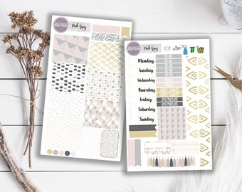 Pink Grey Simple Planner Stickers ECLP Happy Planner