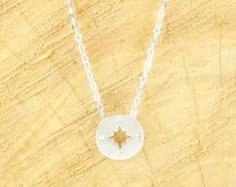 Compass necklace rhodium plated - silver