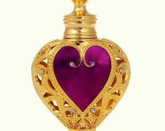 Flacon, perfume bottle, jewelery bottle, purple-pink heart