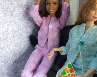 Barbie Doll Size Flannel Pajamas / PJs Outfit - Christmas / Winter Pajama