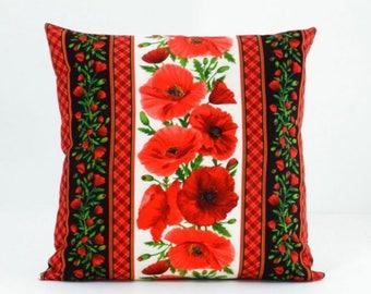 Poppy Pillow Cover - Poppy Throw Pillow - Red Pillow Cover - Porch Pillow - Red Floral Pillow - Decorative Pillow - Floral Throw Pillow