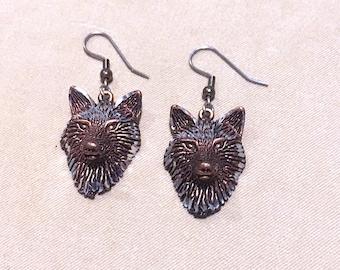 Copper & Silver Detailed Wolf Head Earrings, 3D Wolf Face Earrings in Copper w/Silver Accents Southwestern Native American Inspired Earrings
