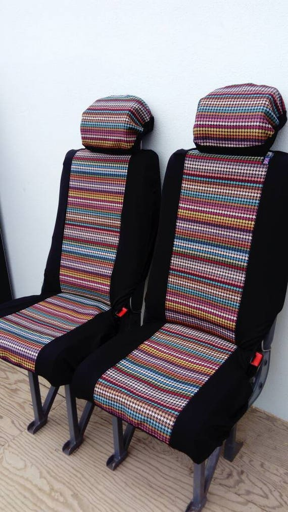 PAIR Hounds Tooth Funky Bright Car Seat Covers