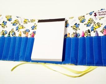 Minions inspired themed Crayon Roll with Doodle pad