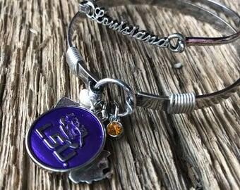 LSU Tigers bangle bracelet set: geaux tigers bracelet set, LSU tigers jewelry, Louisiana State bracelet, tigers bracelets, LSU purple