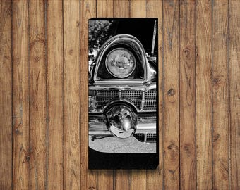 Black and white photo of a 1956 Packard Executive on canvas 12x36