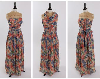 Vintage original 1940s 40s full length chiffon floral dress w attached scarf UK 8 US 4 XS S