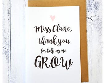 Teacher Appreciation Card | Thank you for helping me grow card | Thank you Teacher Card