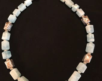 Aquamarine and Hill Tribe silver necklace