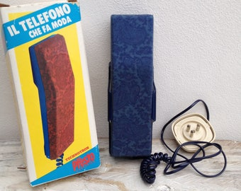 Vintage telephone, '80s telephone, print bandana / Telefono vintage bio presto, telefono a tasti, telefono anni 80, fantasia bandana