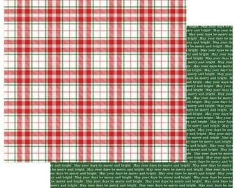 2 Sheets of Photo Play Paper MAD 4 PLAID CHRISTMAS 12x12 Scrapbook Cardstock - Merry