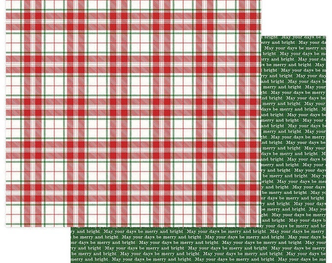 2 Sheets of Photo Play MAD 4 PLAID CHRISTMAS 12x12 Scrapbook Cardstock Paper - Merry