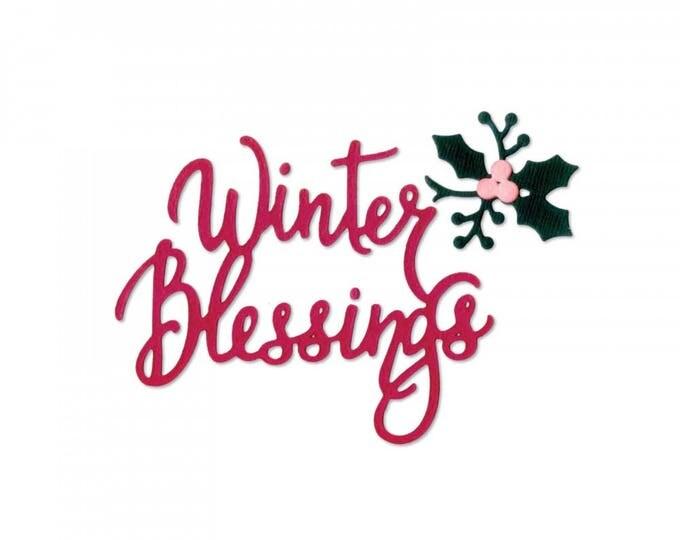 New! Sizzix Thinlits Die Set 3PK - Phrase, Winter Blessings by Jen Long 662447