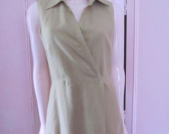 "1990s Tan Linen Sleeveless Maxi-Dress by""Clifford & Willis,"" Size 8"