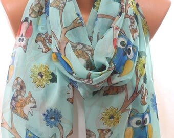 Owl Squirrel Flower Print Spring Summer Trends Mint Scarf Women's Accessories Scarfs Spring Celebrations Holidays Fashion Gift Ideas For Her
