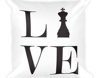 Square Pillow - Live Love Chess Black King Pillow