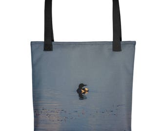 Tote bag - Red Silo Original Art - Sunset Loon