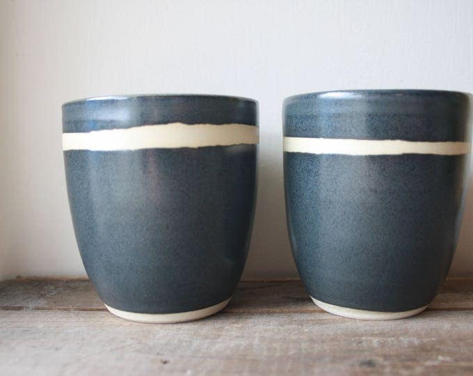 Tumblers - Set of two - Smoke Grey - Handmade - Ceramics and Pottery - Wheel Thrown - KJ Potteryb