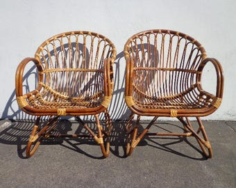 bamboo modern furniture. 2 chairs franco albini rattan scoop vintage mid century modern bohemian boho chic beach armchair bentwood bamboo furniture