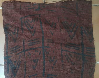 Hand Woven Hmong Hemp Fabric With Block Print Design Hill Tribe Hemp Table  Runner (H328