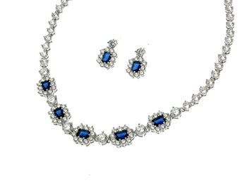 Sapphire Blue Cubic Zirconia Necklace and Earrings Set, Wedding Jewelry Set, Special Occasion, CZ Paved necklace, emerald cut, stud earrings