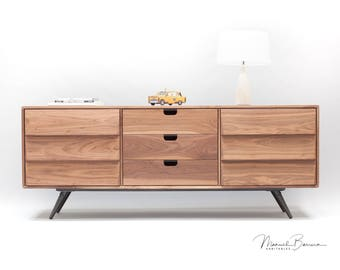 Sideboard, dresser, cupboard, credenza in solid board oak / walnut  ,media console,media center Mid century,tantik L