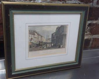Vintage Coloured Print Market Day Dartford Kent.