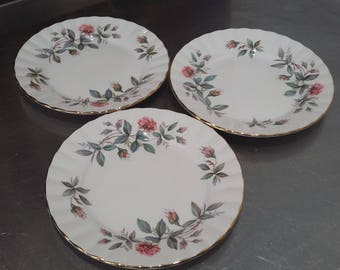 3 Pink Roses Vintage tea Side Cake Sandwich Plate Plates Bramble Rose Royal Stafford Pink Roses