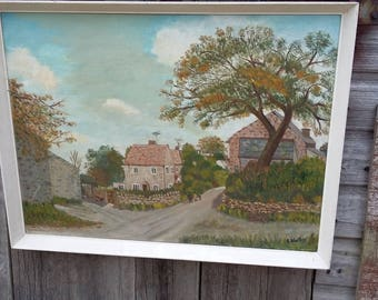 Vintage Oil Painting Autumn At  Rimington 1967