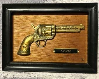Vintage Colt Pistol Wall Hanging - 1960s