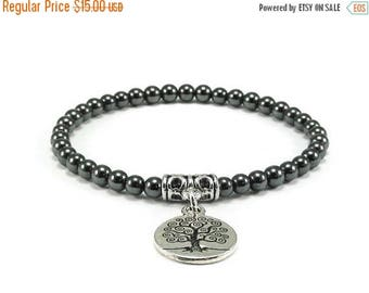 SALE Tree of Life Hematite Beaded Stretch Bracelet