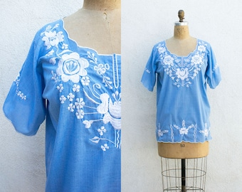 VINTAGE 1970s Embroidered Floral Mexican Cotton Blouse | Ethnic Boho Hippie Peasant Blouse | Hand Embroidered Tunic Top